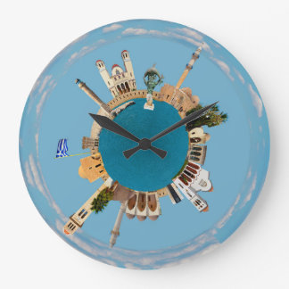 Rethymno city Greece little tiny planet landmark a Large Clock