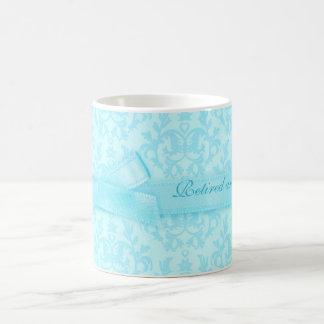"""Retired and loving it"" damask pale blue mug"