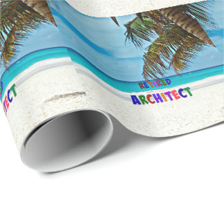 Retired Architect, beach fun Wrapping Paper