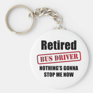 Retired Bus Driver Basic Round Button Keychain