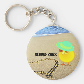 Retired Chick at the Beach Keychain