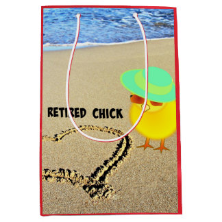 Retired Chick at the Beach Medium Gift Bag