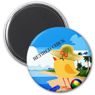 Retired Chick on the Beach 2 Inch Round Magnet