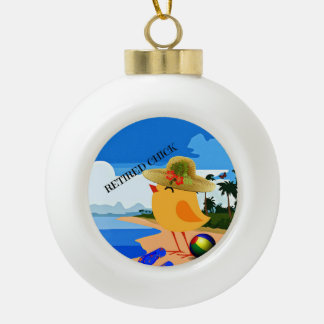 Retired Chick on the Beach Ceramic Ball Ornament