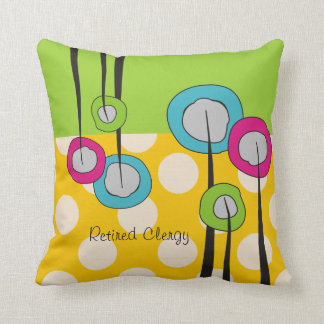 Retired Clergy Pillow Whimsical Flowers Design