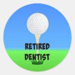 Retired Dentist - Golf Ball on Tee Round Sticker