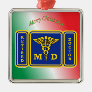 Retired Doctor Caduceus Shield Metal Ornament