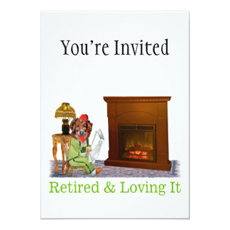 "Retired Dog Lounging By The Fire 5"" X 7"" Invitation Card"