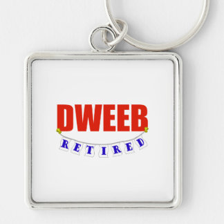 RETIRED DWEEB Silver-Colored SQUARE KEYCHAIN