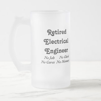 Retired Electrical Engineer Frosted Glass Beer Mug
