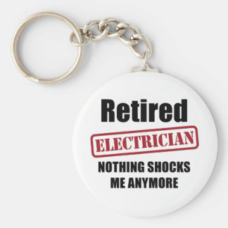 Retired Electrician (US spell) Basic Round Button Keychain