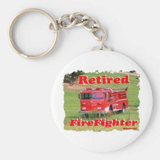 Retired Fire Fighter Basic Round Button Keychain