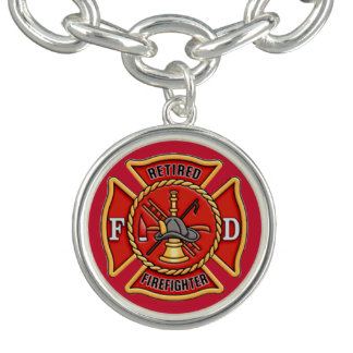 Retired Firefighter Charm Bracelet