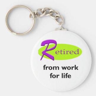 Retired From Work Basic Round Button Keychain