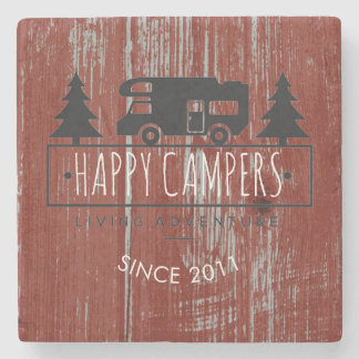 Retired Happy Campers | Rustic Wood Barn Red Date Stone Coaster