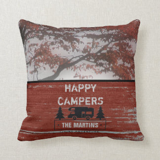 Retired Happy Campers RV | Rustic Red Barn Wood Throw Pillow