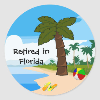Retired in Florida Classic Round Sticker