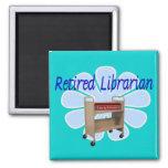 retired Librarian Book Cart Design Fridge Magnet