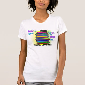 Retired Librarian Cat and Books T-Shirt Design