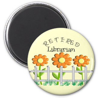 Retired Librarian Daisies Fence Design Gifts Magnet