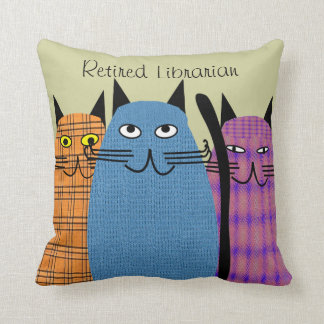 Retired Librarian Folk Cats PIllow