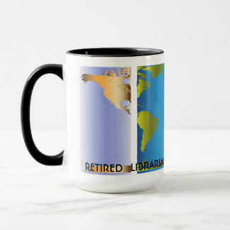 Retired Librarian World Map Mug
