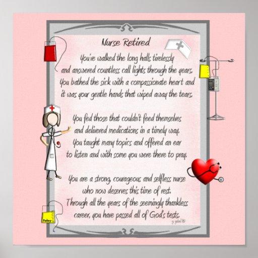 Retired Nurse Canvas Art Poem  by Gail Gabel,RN Print