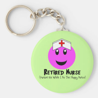 "Retired Nurse Gifts ""Happy Dance Pink Smiley"" Keychain"