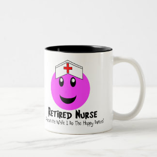 "Retired Nurse Gifts ""Happy Dance Pink Smiley"" Two-Tone Coffee Mug"