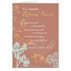 Retired Nurse, Nurses Day Wildflowers on Brown Card