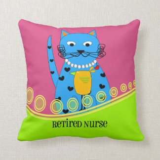 Retired Nurse Pillow Whimsical Cat
