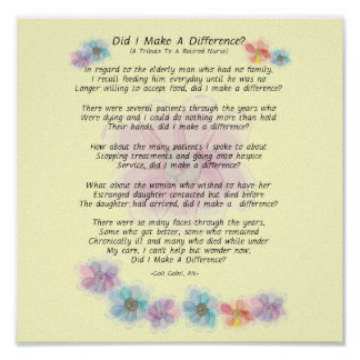 Retired Nurse Poem Did I Make A Difference Posters