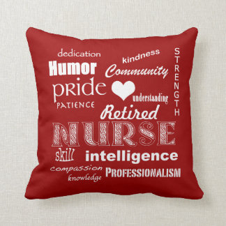 Retired Nurse Pride-Attributes+Heart Throw Pillow
