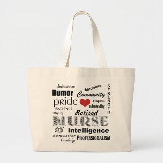 Retired Nurse Pride-Attributes+red heart Large Tote Bag