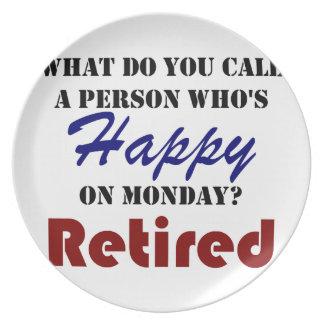 Retired On Monday Funny Retirement Retire Burn Plate