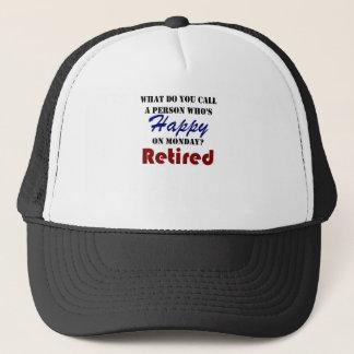 Retired On Monday Funny Retirement Retire Burn Trucker Hat