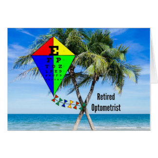 Retired Optometrist, Colorful Beach Design Card