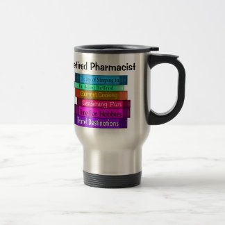 Retired Pharmacist Gifts Stack of Books Design 8 Travel Mug