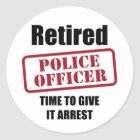 Retired Police Officer Classic Round Sticker