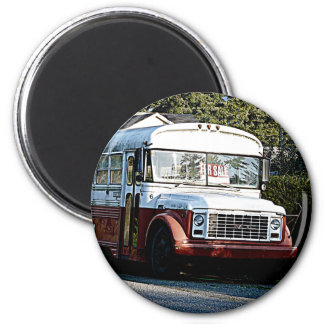 Retired Red and White Bus Refrigerator Magnet