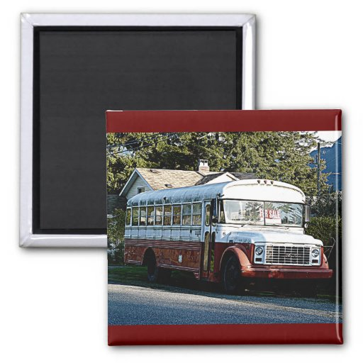 Retired Red and White Bus Refrigerator Magnets