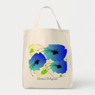 Retired Religious Tote Bag Artsy Blue Floral
