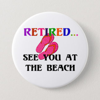 Retired - See You at the Beach, Pink Flip Flops 3 Inch Round Button