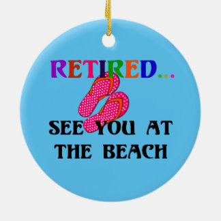 Retired - See You at the Beach, Pink Flip Flops Ceramic Ornament