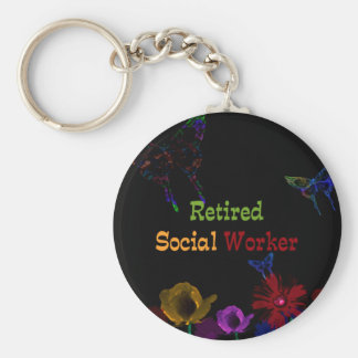 Retired Social Worker, abstract floral design Basic Round Button Keychain