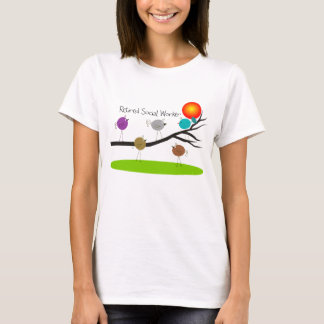 Retired Social Worker T-Shirts Retro Birds