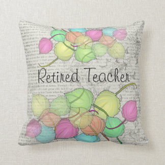 Retired Teacher Artsy Leaves Pillow