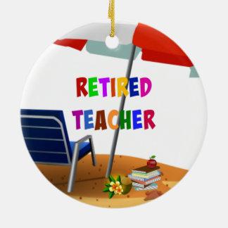 Retired Teacher, Beach Scene (revised) Ceramic Ornament
