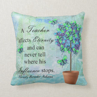 Retired Teacher Butterfly Tree Quote Pillow