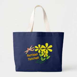 Retired Teacher Dragonfly Daisies Design Large Tote Bag